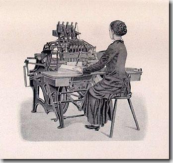 19世紀後半の半自動糸綴機